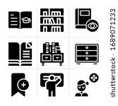 filled library 9 vector icons...