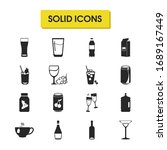 alcohol icons set with cheers ...