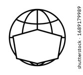 line icon of globe in face mask....   Shutterstock .eps vector #1689179989