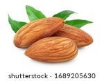 Almonds Nuts With Leaf Isolate...