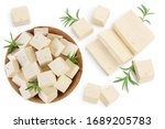 Tofu Cheese Isolated On White...