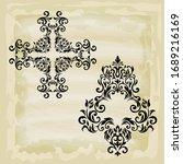 rococo texture pattern vector.... | Shutterstock .eps vector #1689216169