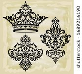 rococo texture pattern vector.... | Shutterstock .eps vector #1689216190