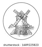 Milling Windmill Vector. Hand...