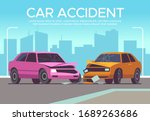 car accident. traffic collision ... | Shutterstock .eps vector #1689263686