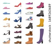 shoes and boots. various types... | Shutterstock .eps vector #1689263689