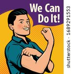 we can do it  poster. retro... | Shutterstock .eps vector #1689291553