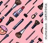 make up seamless pattern  brush ... | Shutterstock .eps vector #1689293416