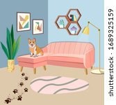 cute naughty corgi dog with... | Shutterstock .eps vector #1689325159