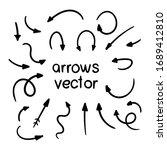 vector set of doodle arrows on... | Shutterstock .eps vector #1689412810