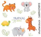 Color Set Cute Tropical Animals ...