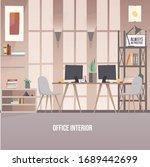creative workplace modern open... | Shutterstock .eps vector #1689442699