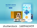 online delivery service concept ... | Shutterstock .eps vector #1689463459