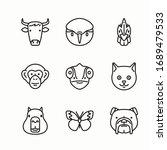 simple set fauna vector line... | Shutterstock .eps vector #1689479533
