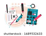 editing of paper notes vector... | Shutterstock .eps vector #1689532633