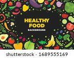 vector banner with fruits and... | Shutterstock .eps vector #1689555169