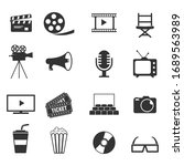cinema icons set vector...   Shutterstock .eps vector #1689563989