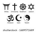 religious symbols icon set.... | Shutterstock .eps vector #1689572689