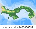 map of panama with illuminated...   Shutterstock . vector #1689634339
