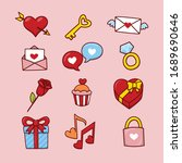 set of cute hand drawn elements ...   Shutterstock .eps vector #1689690646