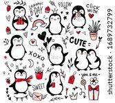 doodle penguins  hand drawn set ...   Shutterstock .eps vector #1689732799
