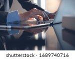 busineesman hand working on...   Shutterstock . vector #1689740716