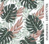 botanical seamless tropical... | Shutterstock .eps vector #1689747706