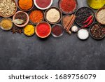 Various Spices In Bowls On Dark ...