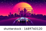 arcade space ship flying to the ... | Shutterstock .eps vector #1689760120