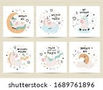 set of posters with cute...   Shutterstock .eps vector #1689761896