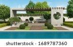 Luxury Garden With Concrete...
