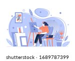a girl artist paints a picture... | Shutterstock .eps vector #1689787399