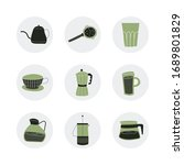 set with hand drawn coffee... | Shutterstock .eps vector #1689801829