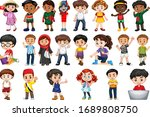 large set of children doing... | Shutterstock .eps vector #1689808750