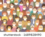 people around the world wearing ... | Shutterstock .eps vector #1689828490
