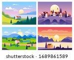 set summer sunset seaside... | Shutterstock .eps vector #1689861589
