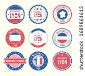 welcome to lyon france oval...   Shutterstock .eps vector #1689861613