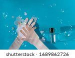 washing hand with soapa and... | Shutterstock . vector #1689862726