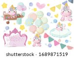 cute unicorn set pictures for a ... | Shutterstock .eps vector #1689871519
