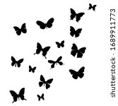 black silhouette of a butterfly ... | Shutterstock .eps vector #1689911773