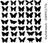 butterfly silhouette collection ... | Shutterstock .eps vector #1689911776
