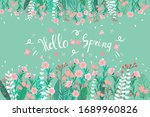 hello spring text  floral... | Shutterstock .eps vector #1689960826