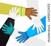 vector illustration of hands of ... | Shutterstock .eps vector #1690012453