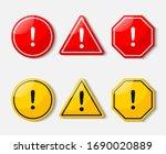 hazard warning sign isolated on ... | Shutterstock .eps vector #1690020889