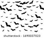 pinioned black bats swarm... | Shutterstock .eps vector #1690037023