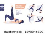 beautiful women doing yoga... | Shutterstock .eps vector #1690046920