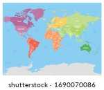 colorful political map of world ... | Shutterstock .eps vector #1690070086