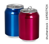 Two Aluminum Cans  Open And...