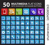 50 multimedia flat icons with... | Shutterstock .eps vector #169008563