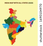 india new map with states name. ... | Shutterstock .eps vector #1690104970
